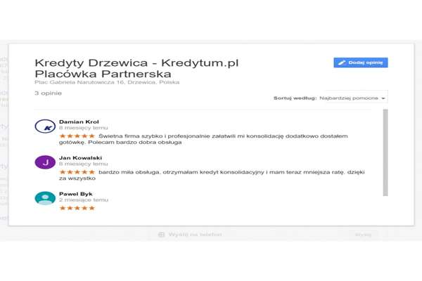Komentarze Google mapa wizytówka firm  Jastrzębie Zdrój
